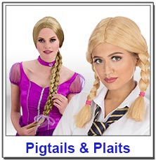 Pigtails and plaited ladies wigs