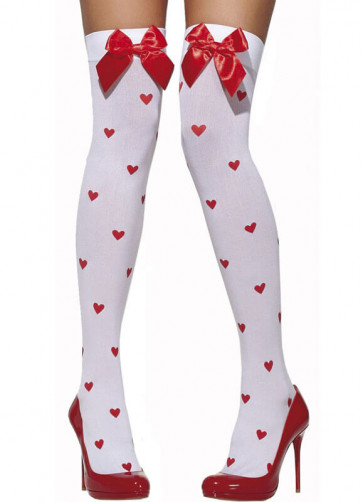 White Stockings With Red Bow And Hearts - Dress Size 6-14