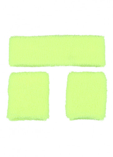 80's Sweatbands and Wristbands - Neon Yellow