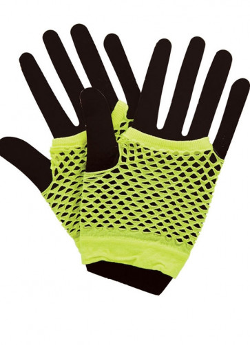 80s Fishnet Gloves Neon Yellow- Short