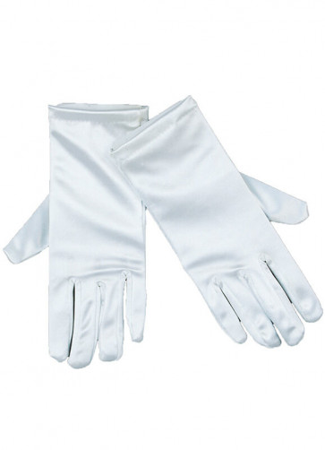 White Thick Satin - Adult Gloves