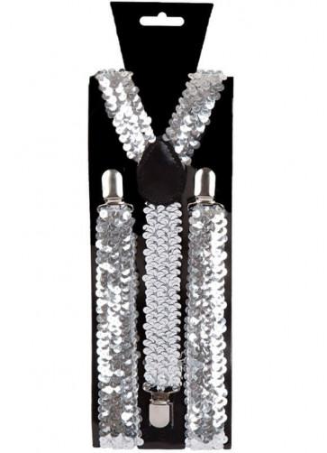 Silver Sequins Trouser Braces