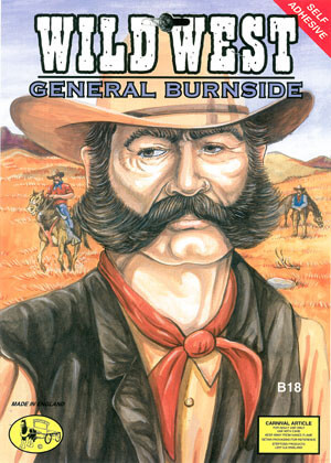 General Burnside Black & Grey Side-Burns & Moustache