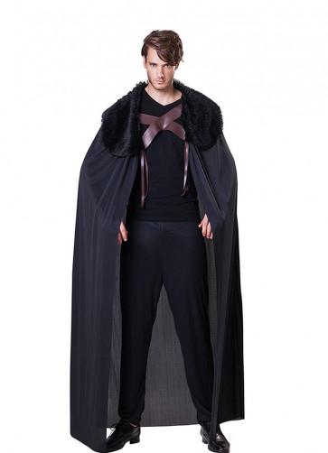 Medieval Faux Fur Collared Cape - Black - Thrones