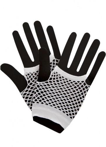 80s Fishnet Gloves White - Short