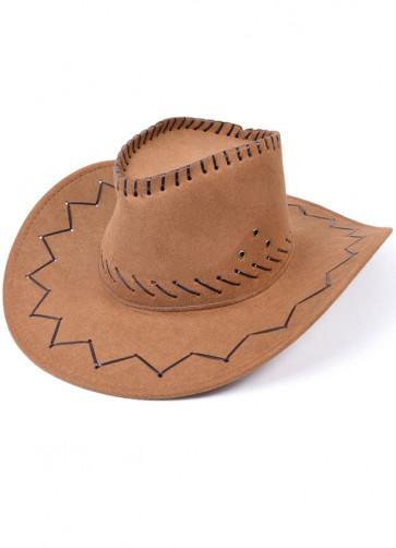 Light Brown Stitched Cowboy Hat