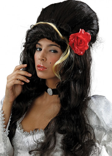 Amy Winehouse - Black Wig with Flower