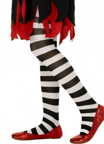 Kids Striped Tights - Black & White - Age 8-12