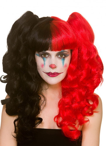 Harlequin Red and Black Bunches Wig