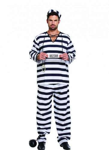 Black & White Striped Convict or Prisoner Costume