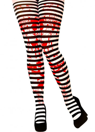 Blood Stained Black & White Striped Tights - Dress Size 6-14