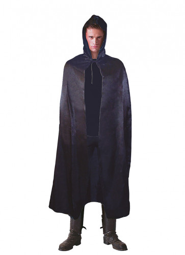Black Satin Hooded Cape