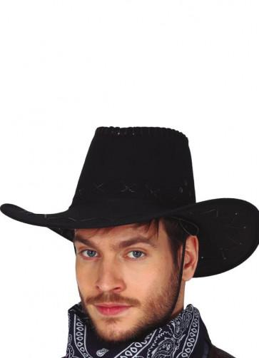 Black Stitched Cowboy Hat