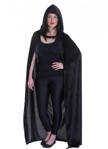 Black Velvet Hooded Cape - Satin Lined