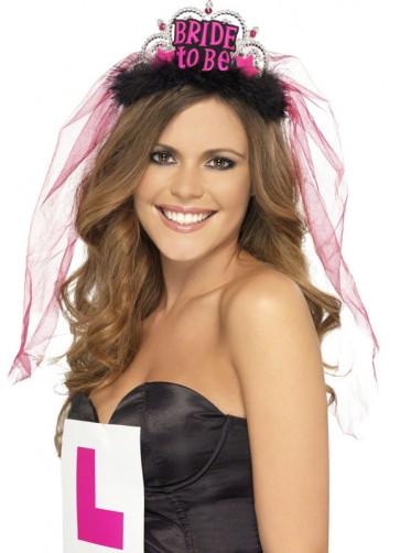 Bride To Be Tiara & Veil - Black/Pink