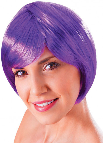 Flirty Flick Neon Purple Wig