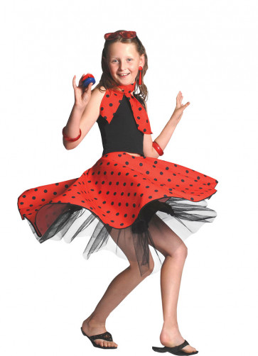 Childs Rock and Roll Polkadot Skirt Red