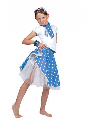 Childs Rock and Roll Polkadot Skirt Blue