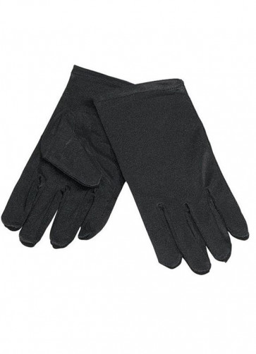 Kids Black Thick Satin Gloves