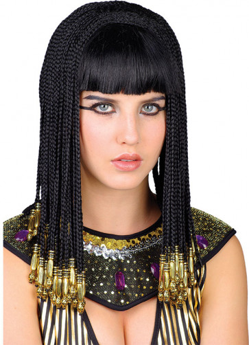 Queen Cleopatra Wig - Shoulder Length Braided Black Hair with Gold Beads