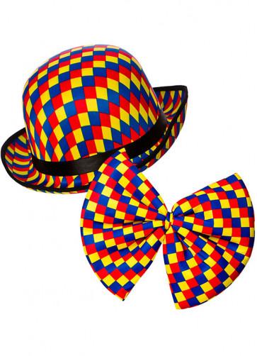 Clown Bowler Hat & Bow-Tie