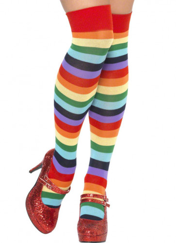 Rainbow Clown Over-the-Knee Sock