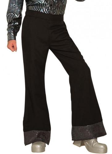 Flared Disco Trousers Black & Silver - ABBA