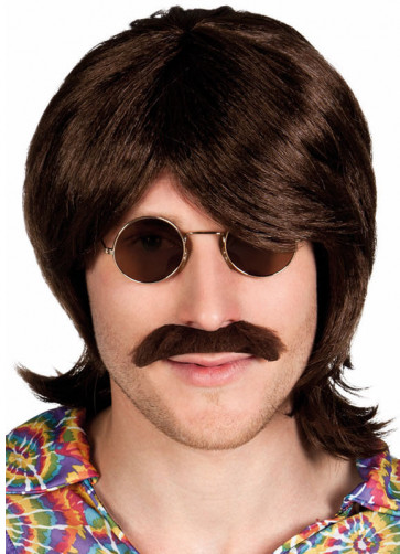 Hippy Beatles-Style Brown Wig & Moustache