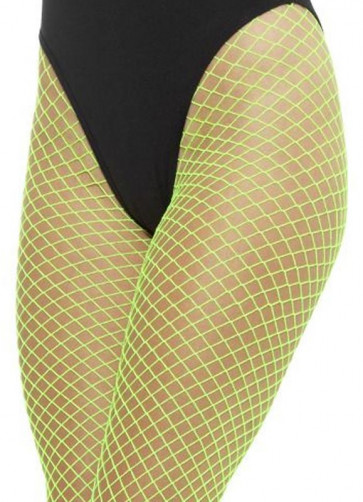 Fishnet Footless Tights – Neon Green 6-18