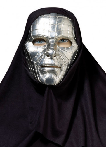 Silver Robot Plastic Mask with Hood