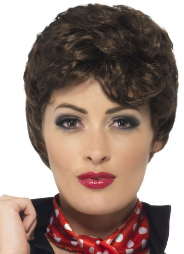 Grease Pink-Ladies Rizzo Brown Wig