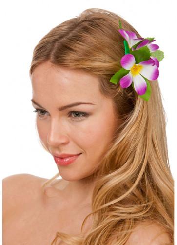 Hawaiian Flower Hair Clip (Purple and White)