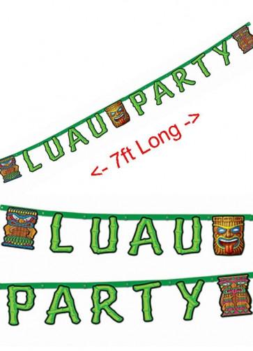"""Hawaiian """" Luau Party """" Banner / Bunting 213cm"""