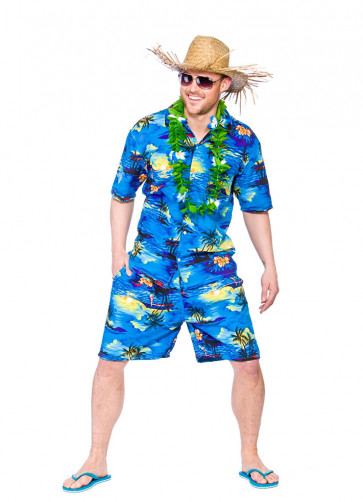Hawaiian Party Guy (Blue Palm Trees) Costume