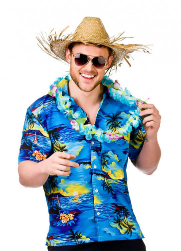 Hawaiian Shirt (Blue Palm Trees)