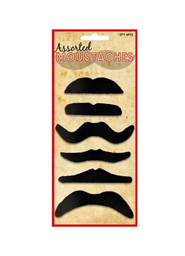 Black Moustaches (6 pack)