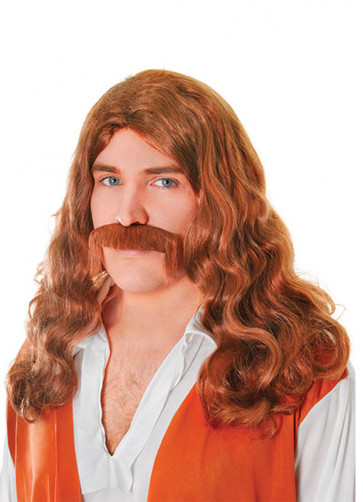 Hippy Man Brown Wig & Tash
