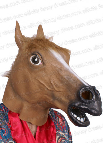 Horse Rubber Mask (Brown)