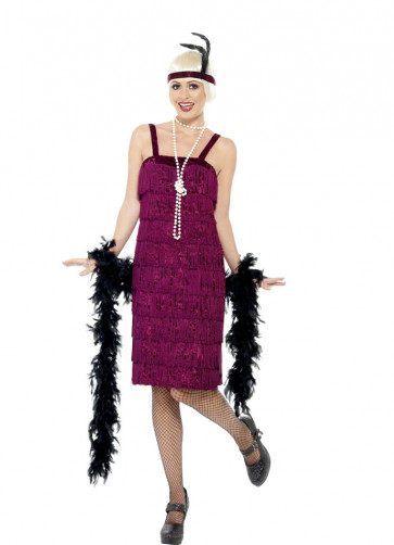 Jazz Flapper Burgundy Costume