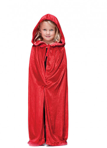 Red Velvet Hooded Cape - Kids