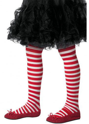 Kids Striped Tights - Red & White - Age 8-12