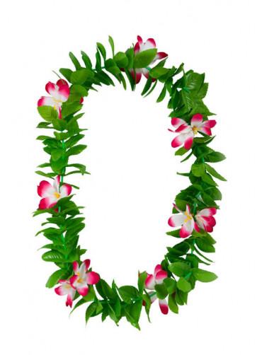 Hawaiian Lei Green Leaf Pink Flowers