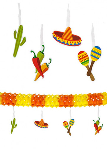 Mexican Fiesta Double-Sided Paper Garland 4m