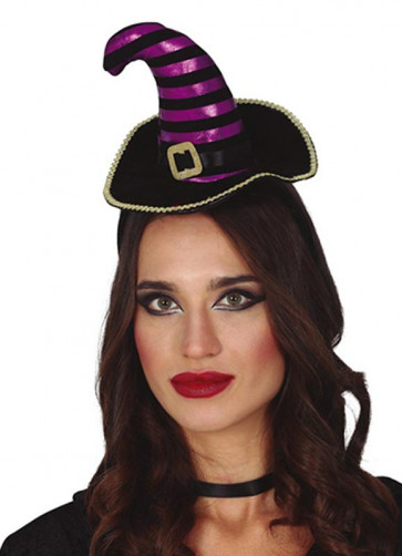 Mini Black and Purple Striped Witch Hat with Gold Trim