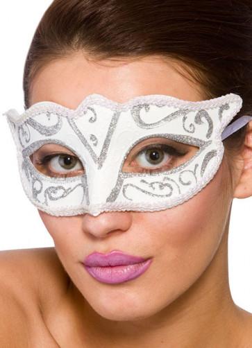 Calypso Eye Mask - White & Silver