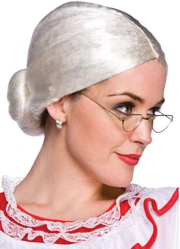Granny / Mrs Claus Wig - White bun