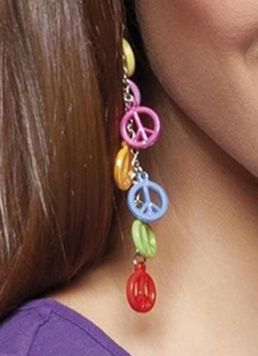 Multi colour 1970s peace earrings