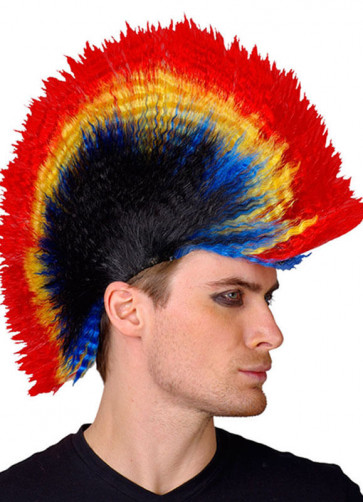 Rainbow Punk Mohican Wig - Red Yellow Blue Black