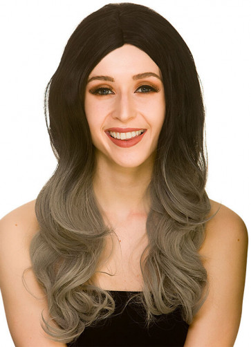 LA Glamour Long Black and Grey Ombre Wig