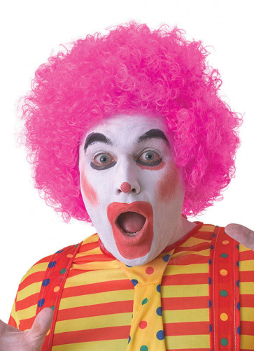 Pink Clown Afro Pop Wig